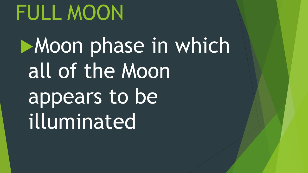 FULL MOON  Moon phase in which all of the Moon appears to be illuminated
