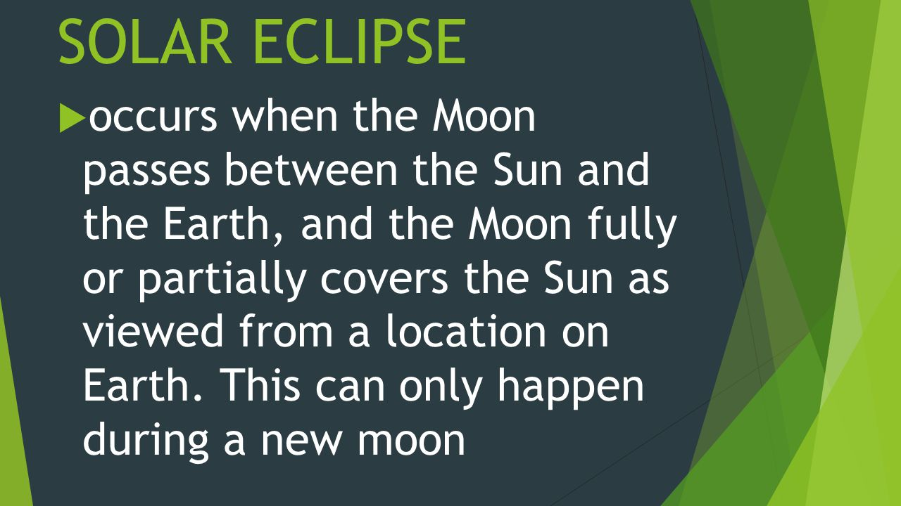 SOLAR ECLIPSE  occurs when the Moon passes between the Sun and the Earth, and the Moon fully or partially covers the Sun as viewed from a location on Earth.