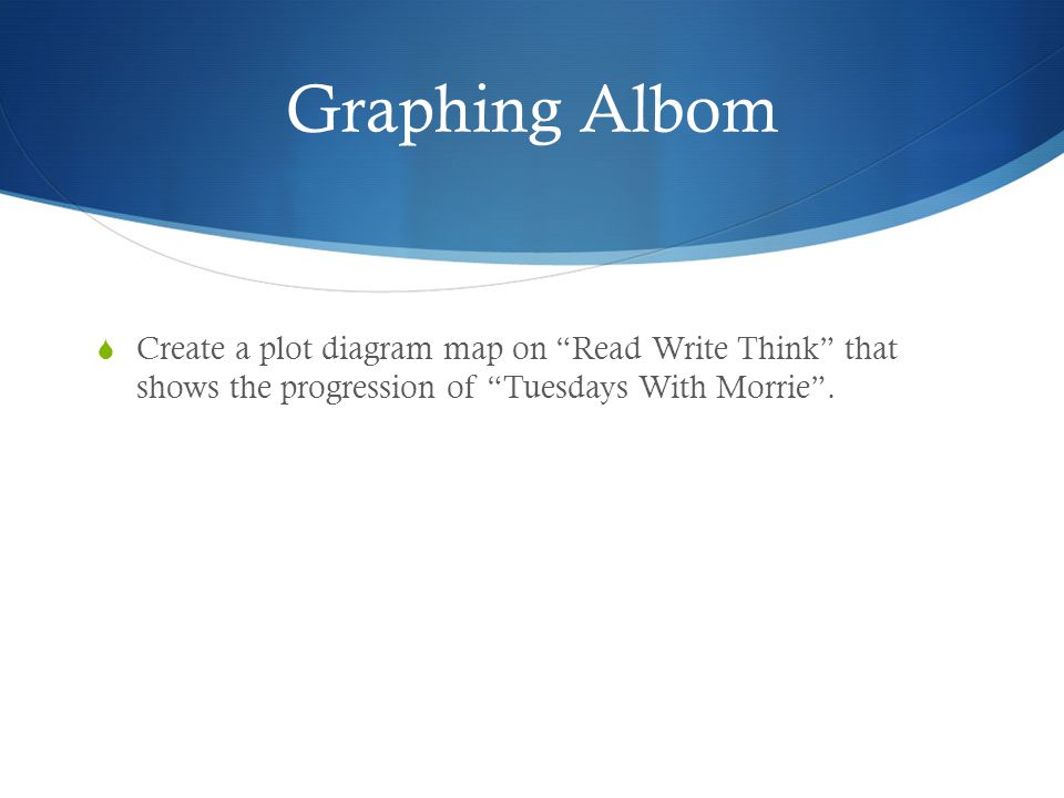 "Graphing Albom  Create a plot diagram map on ""Read Write Think"" that shows the progression of ""Tuesdays With Morrie""."