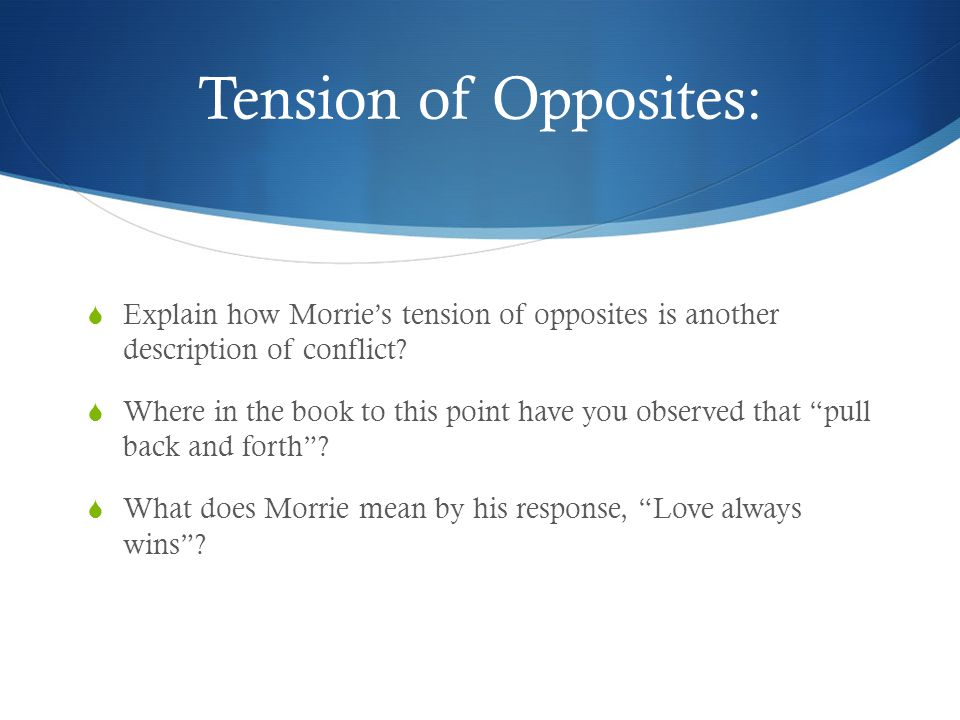 Tension of Opposites:  Explain how Morrie's tension of opposites is another description of conflict?  Where in the book to this point have you obser