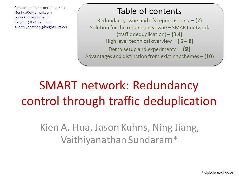 SMART network: Redundancy control through traffic deduplication Kien A.