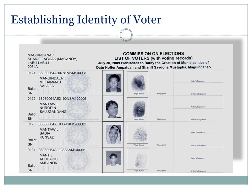 Establishing Identity of Voter