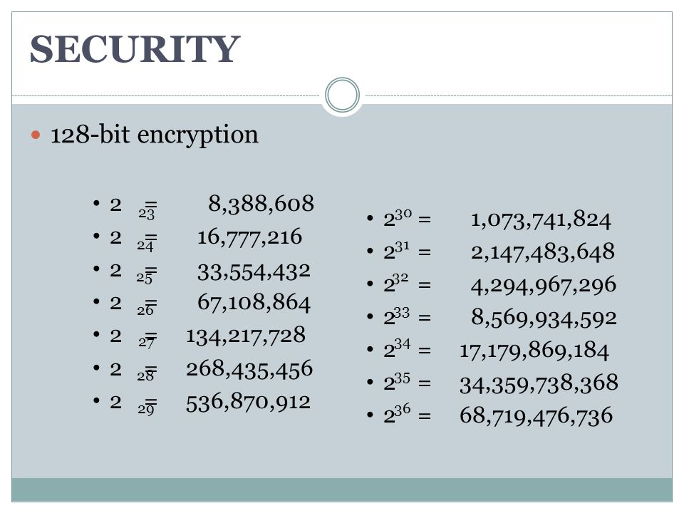SECURITY 128-bit encryption 2 = 8,388,608 2 = 16,777,216 2 = 33,554,432 2 = 67,108,864 2 = 134,217,728 2 = 268,435,456 2 = 536,870,912 23 24 25 26 27 28 29 2 = 1,073,741,824 2 = 2,147,483,648 2 = 4,294,967,296 2 = 8,569,934,592 2 = 17,179,869,184 2 = 34,359,738,368 2 = 68,719,476,736 30 31 32 33 34 35 36