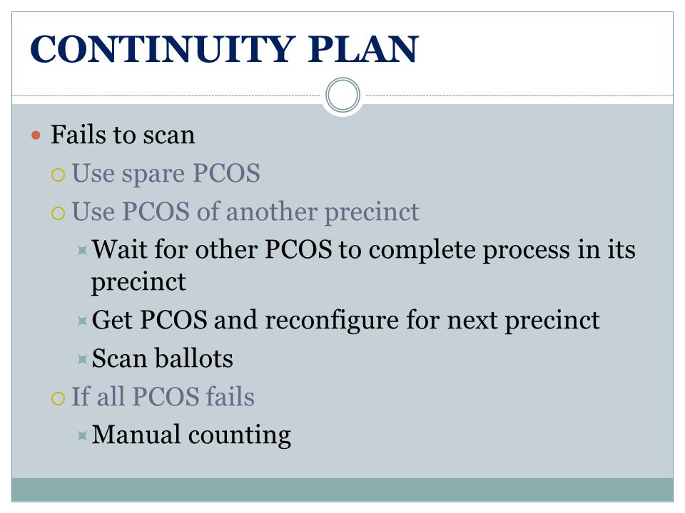 CONTINUITY PLAN Fails to scan  Use spare PCOS  Use PCOS of another precinct  Wait for other PCOS to complete process in its precinct  Get PCOS and reconfigure for next precinct  Scan ballots  If all PCOS fails  Manual counting