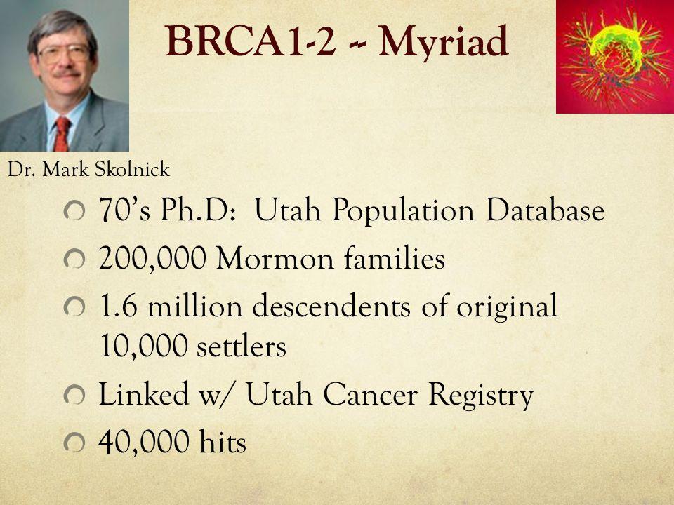 BRCA1-2 -- Myriad 70's Ph.D: Utah Population Database 200,000 Mormon families 1.6 million descendents of original 10,000 settlers Linked w/ Utah Cance