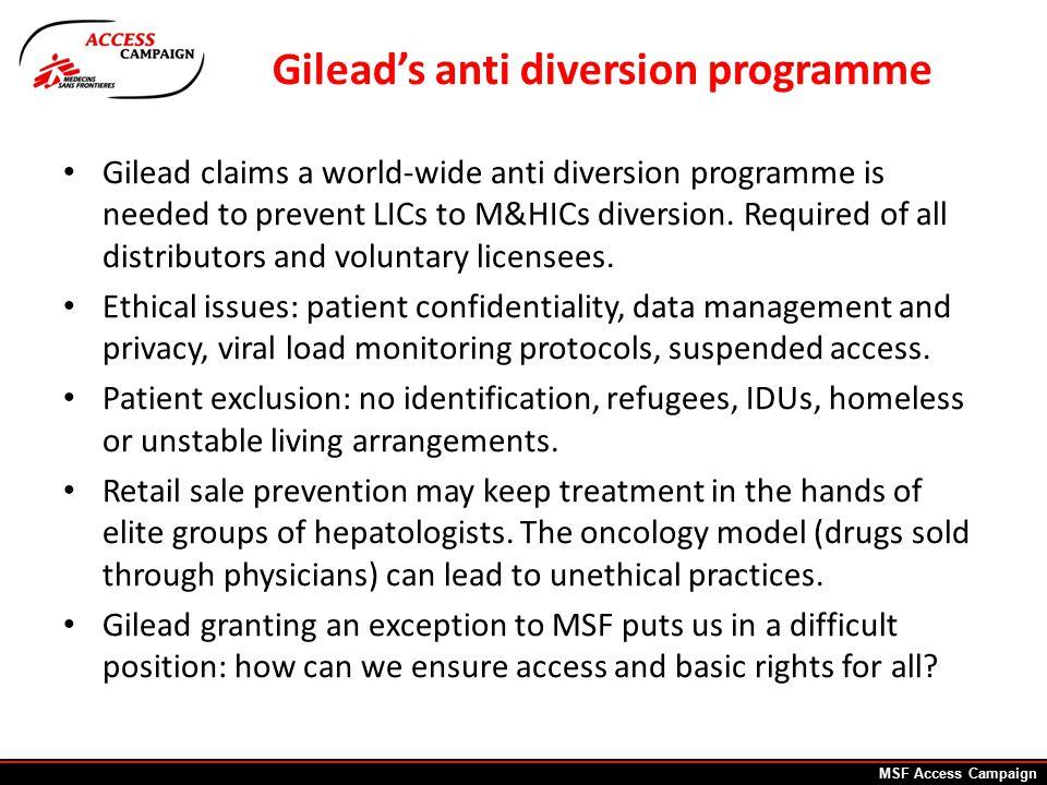 Gilead's anti diversion programme Gilead claims a world-wide anti diversion programme is needed to prevent LICs to M&HICs diversion.