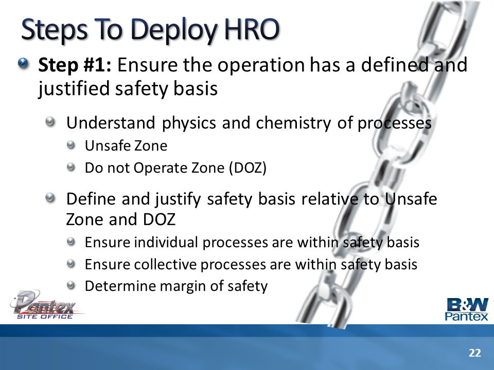 Step #1: Ensure the operation has a defined and justified safety basis Understand physics and chemistry of processes Unsafe Zone Do not Operate Zone (