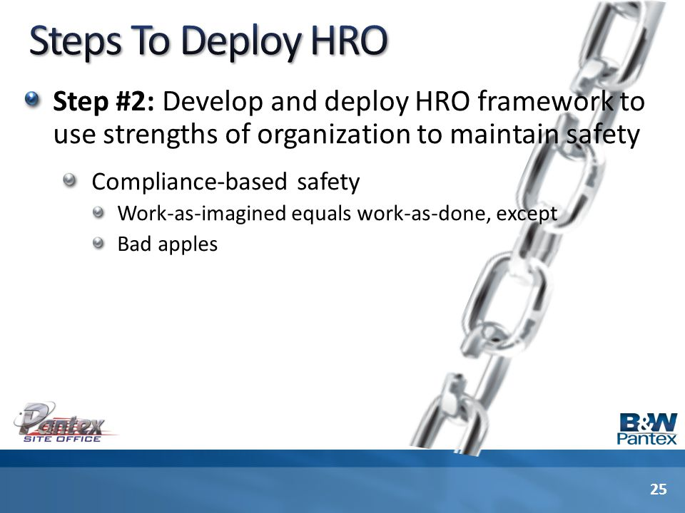 Step #2: Develop and deploy HRO framework to use strengths of organization to maintain safety Compliance-based safety Work-as-imagined equals work-as-