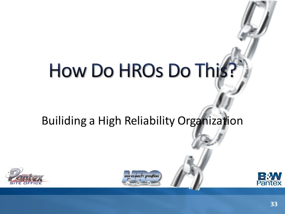 33 Builiding a High Reliability Organization