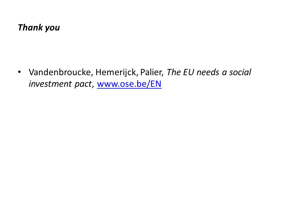Thank you Vandenbroucke, Hemerijck, Palier, The EU needs a social investment pact, www.ose.be/ENwww.ose.be/EN