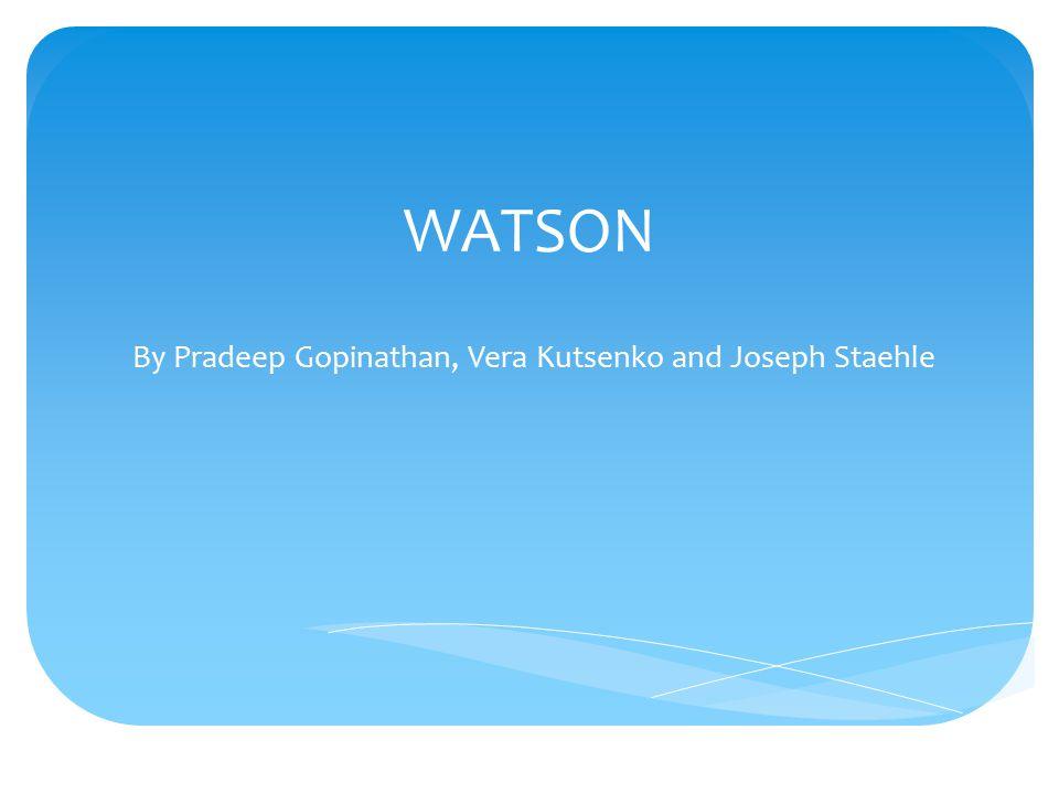 WATSON By Pradeep Gopinathan, Vera Kutsenko and Joseph Staehle