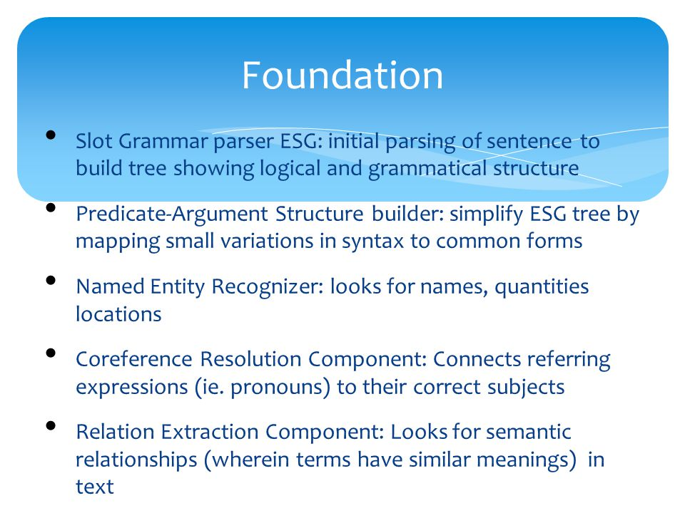 Foundation Slot Grammar parser ESG: initial parsing of sentence to build tree showing logical and grammatical structure Predicate-Argument Structure builder: simplify ESG tree by mapping small variations in syntax to common forms Named Entity Recognizer: looks for names, quantities locations Coreference Resolution Component: Connects referring expressions (ie.