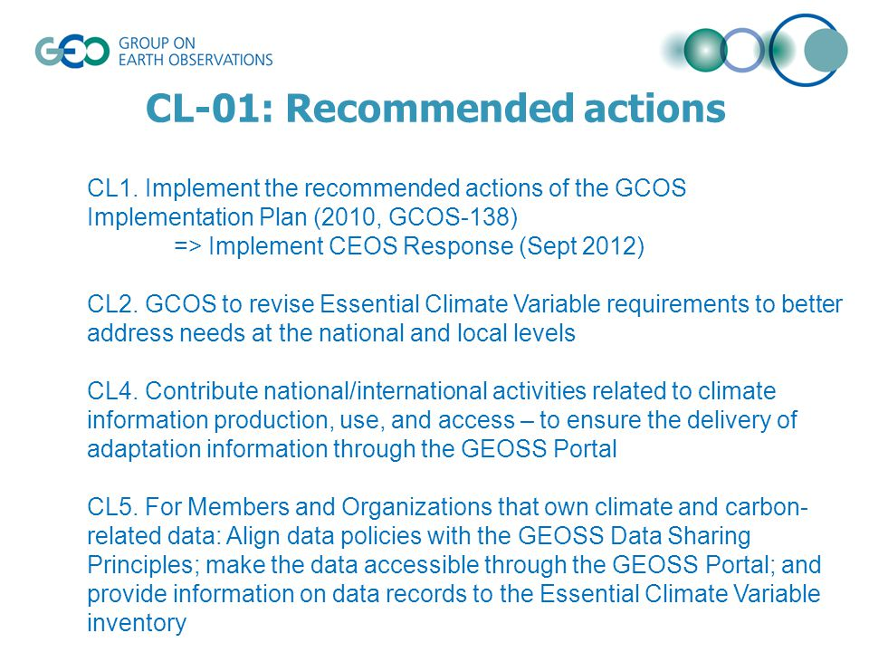 CL-01: Recommended actions CL1.