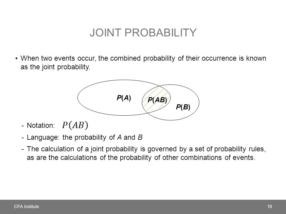 JOINT PROBABILITY When two events occur, the combined probability of their occurrence is known as the joint probability.