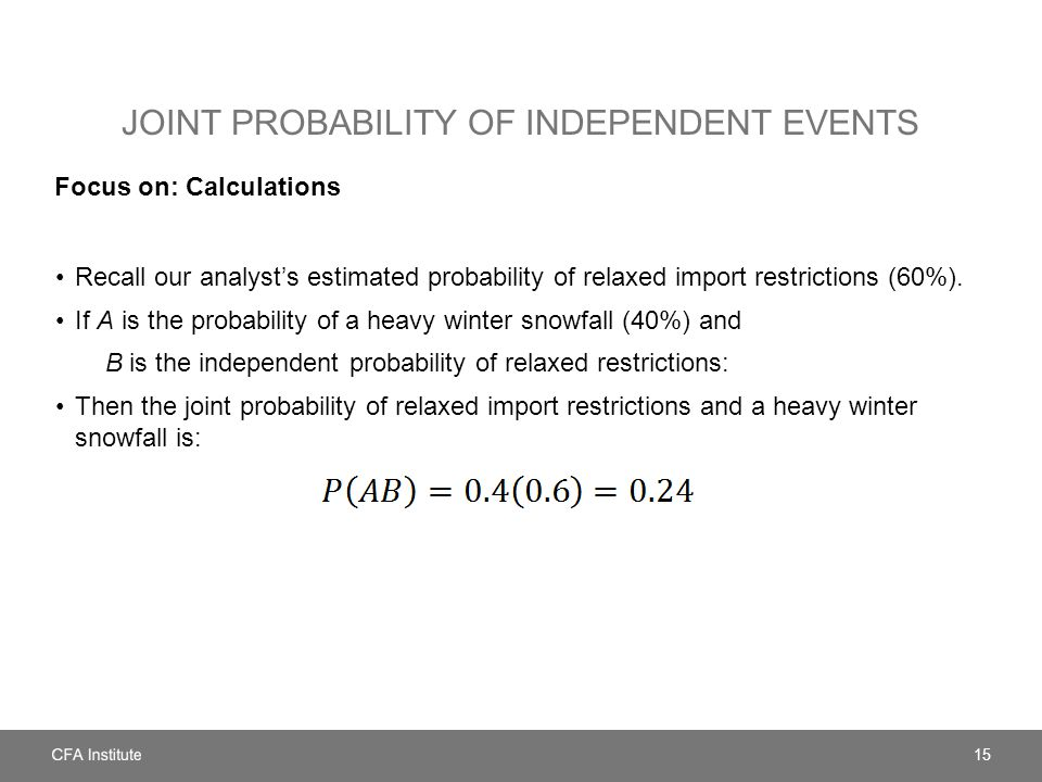 JOINT PROBABILITY OF INDEPENDENT EVENTS Focus on: Calculations Recall our analyst's estimated probability of relaxed import restrictions (60%).