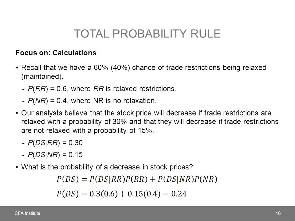 TOTAL PROBABILITY RULE Focus on: Calculations Recall that we have a 60% (40%) chance of trade restrictions being relaxed (maintained). -P(RR) = 0.6, w