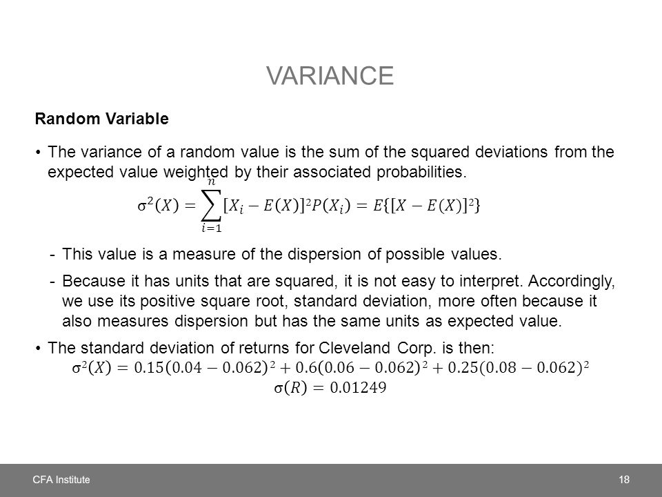 VARIANCE Random Variable 18