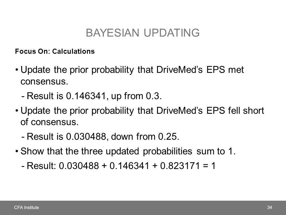 BAYESIAN UPDATING Focus On: Calculations Update the prior probability that DriveMed's EPS met consensus.