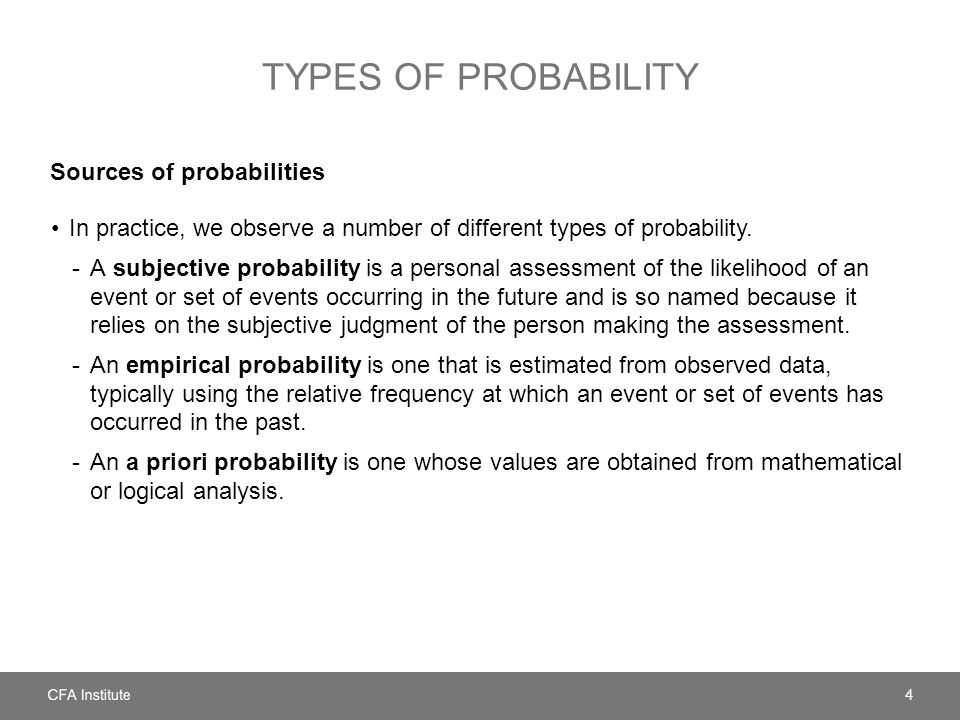 TYPES OF PROBABILITY Sources of probabilities In practice, we observe a number of different types of probability.