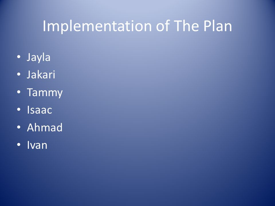Implementation of The Plan Jayla Jakari Tammy Isaac Ahmad Ivan