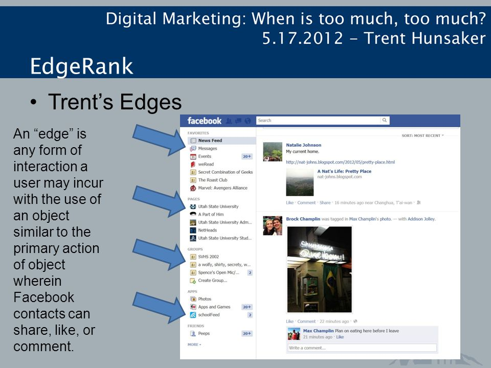 EdgeRank Trent's Edges An edge is any form of interaction a user may incur with the use of an object similar to the primary action of object wherein Facebook contacts can share, like, or comment.