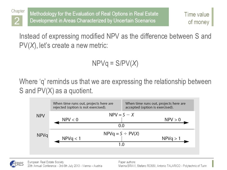2 Instead of expressing modified NPV as the difference between S and PV( X ), let's create a new metric: NPVq = S/PV( X ) Where 'q' reminds us that we are expressing the relationship between S and PV(X) as a quotient.