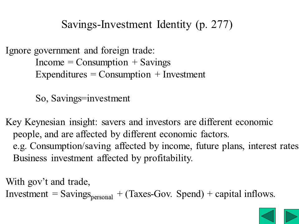 Savings-Investment Identity (p. 277) Ignore government and foreign trade: Income = Consumption + Savings Expenditures = Consumption + Investment So, S