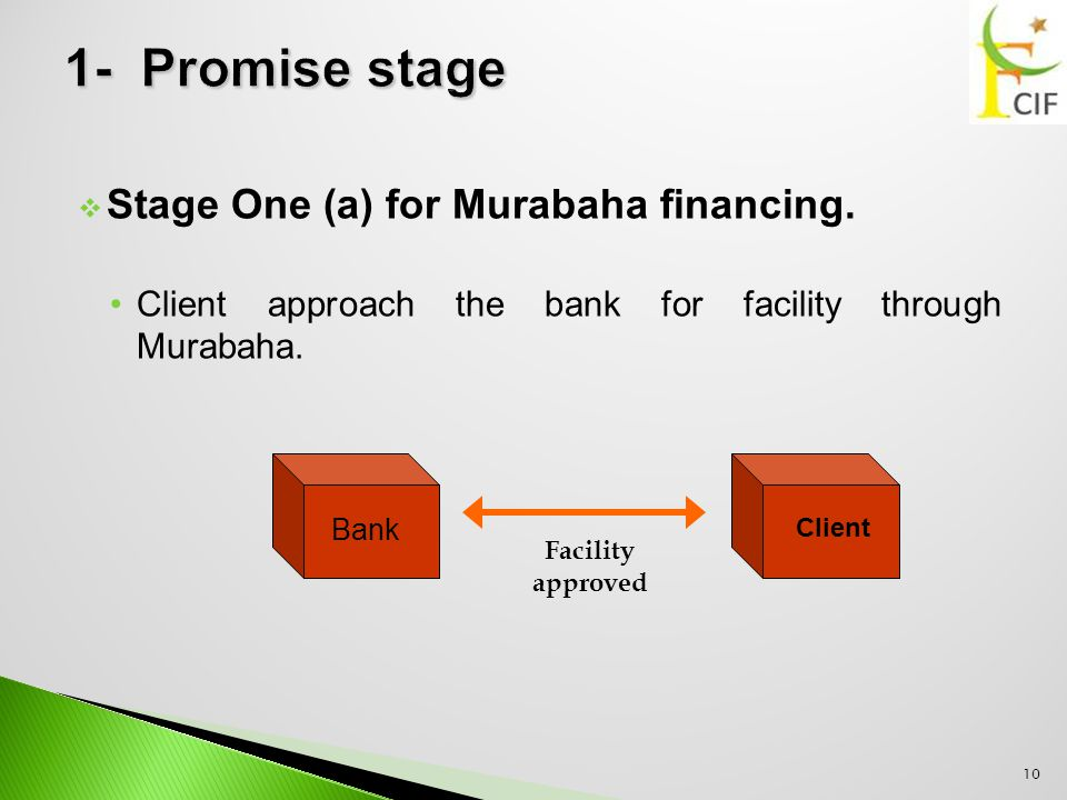  Stage One (a) for Murabaha financing. Client approach the bank for facility through Murabaha.