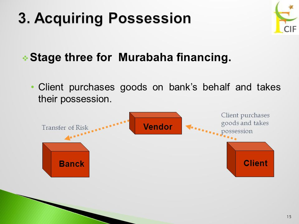  Stage three for Murabaha financing.