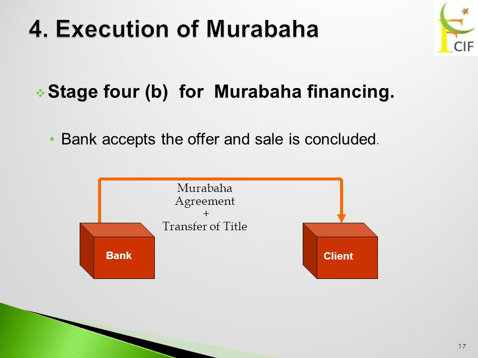  Stage four (b) for Murabaha financing. Bank accepts the offer and sale is concluded.