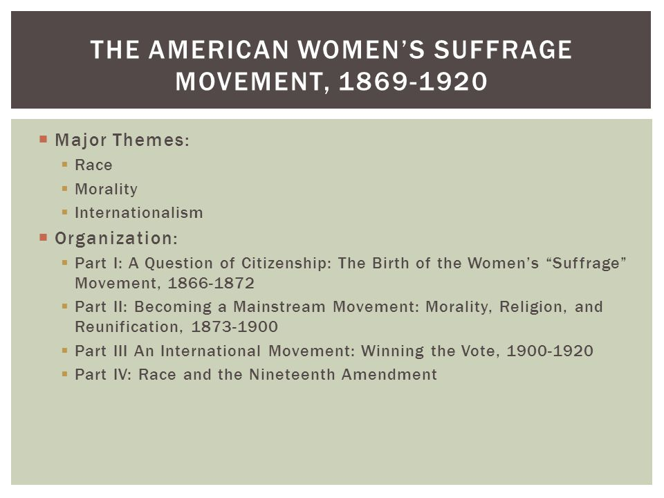 """ Major Themes:  Race  Morality  Internationalism  Organization:  Part I: A Question of Citizenship: The Birth of the Women's """"Suffrage"""" Movement"""