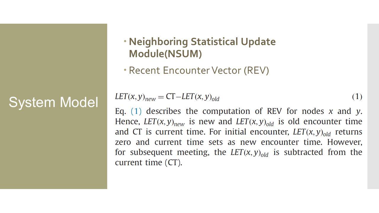 System Model  Neighboring Statistical Update Module(NSUM)  Recent Encounter Vector (REV)