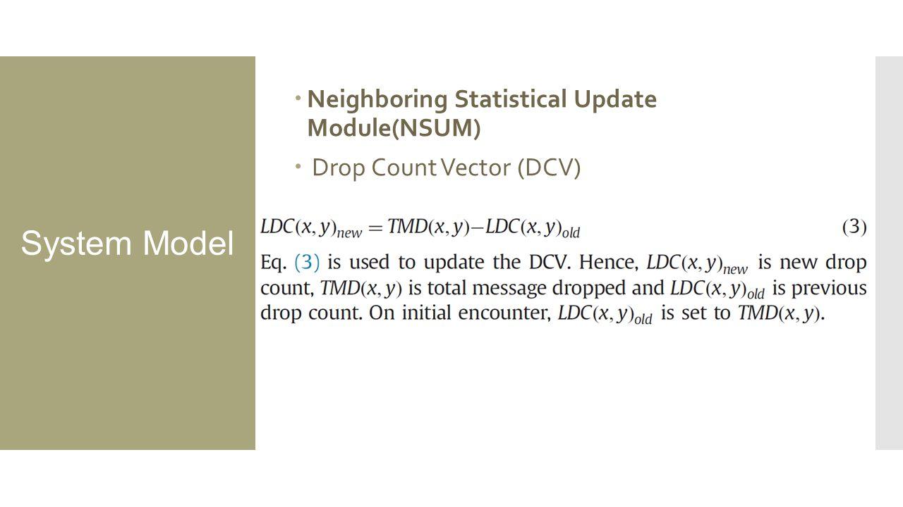 System Model  Neighboring Statistical Update Module(NSUM)  Drop Count Vector (DCV)
