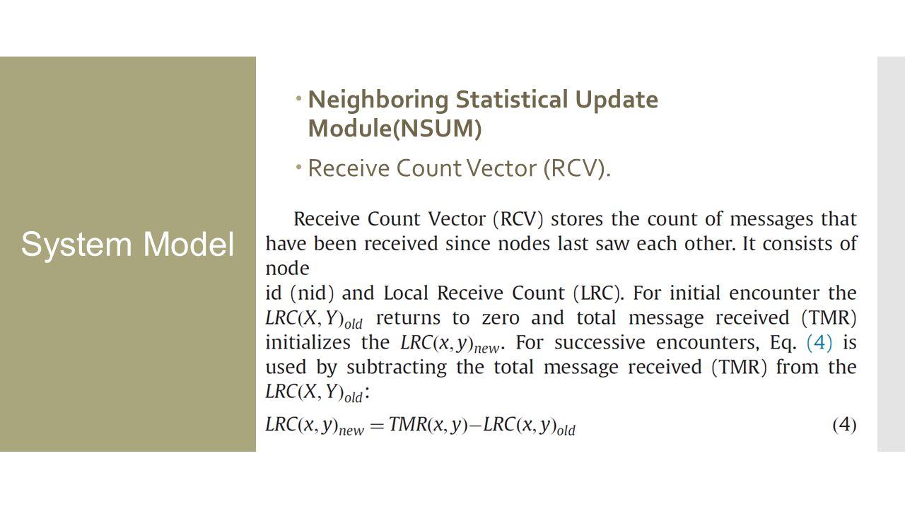 System Model  Neighboring Statistical Update Module(NSUM)  Receive Count Vector (RCV).