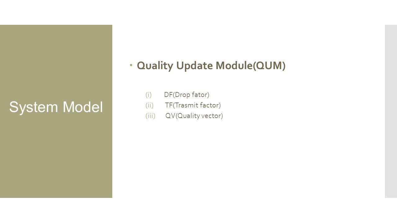  Quality Update Module(QUM) (i)DF(Drop fator) (ii) TF(Trasmit factor) (iii) QV(Quality vector)