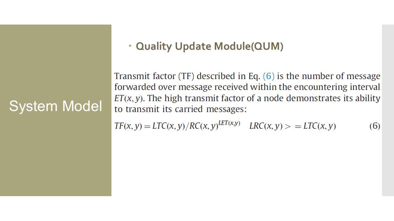 System Model  Quality Update Module(QUM)