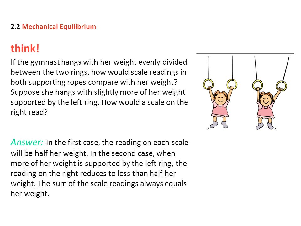 think! If the gymnast hangs with her weight evenly divided between the two rings, how would scale readings in both supporting ropes compare with her w