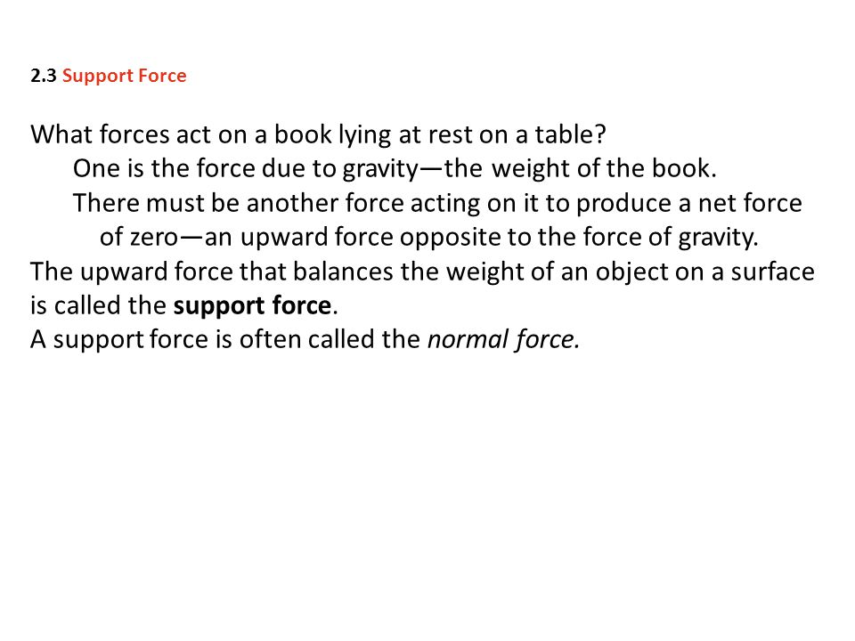 What forces act on a book lying at rest on a table.