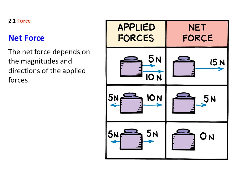 Net Force The net force depends on the magnitudes and directions of the applied forces. 2.1 Force