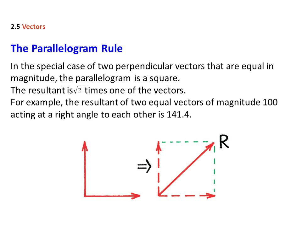 The Parallelogram Rule In the special case of two perpendicular vectors that are equal in magnitude, the parallelogram is a square.