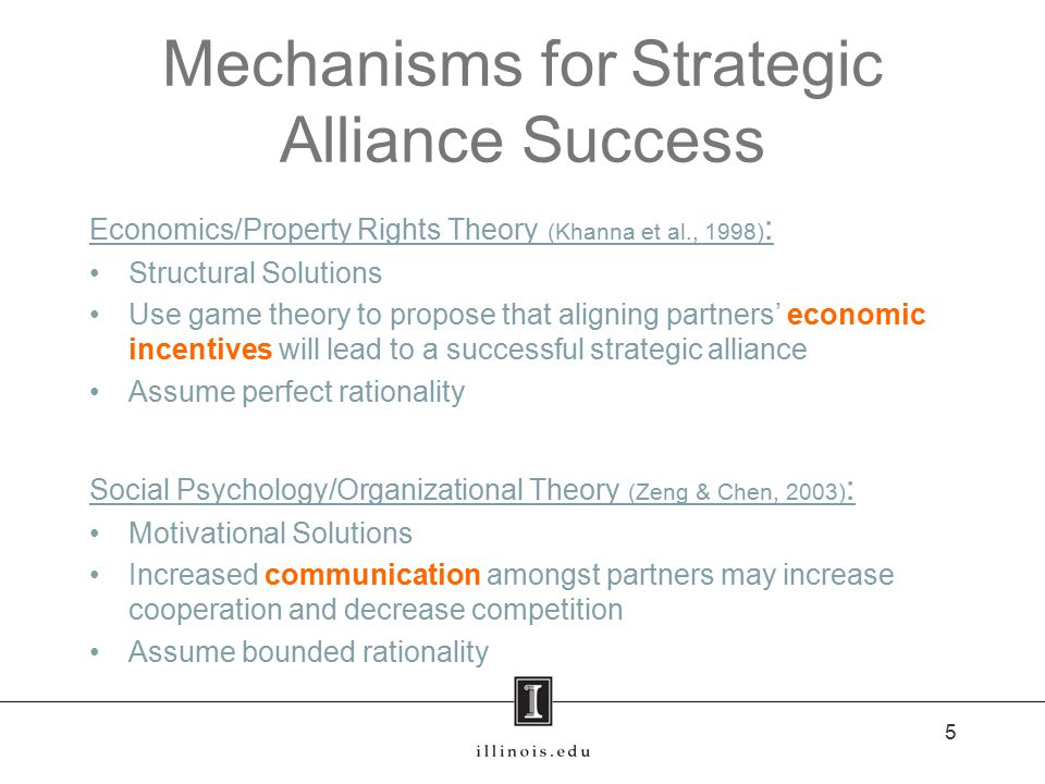 Mechanisms for Strategic Alliance Success Economics/Property Rights Theory (Khanna et al., 1998) : Structural Solutions Use game theory to propose that aligning partners' economic incentives will lead to a successful strategic alliance Assume perfect rationality Social Psychology/Organizational Theory (Zeng & Chen, 2003) : Motivational Solutions Increased communication amongst partners may increase cooperation and decrease competition Assume bounded rationality 5