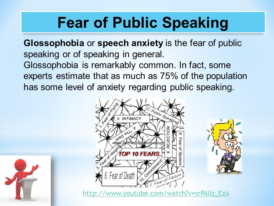 Glossophobia or speech anxiety is the fear of public speaking or of speaking in general. Glossophobia is remarkably common. In fact, some experts esti