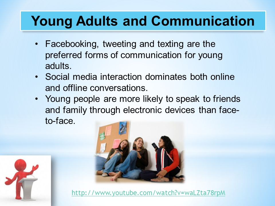 Facebooking, tweeting and texting are the preferred forms of communication for young adults. Social media interaction dominates both online and offlin