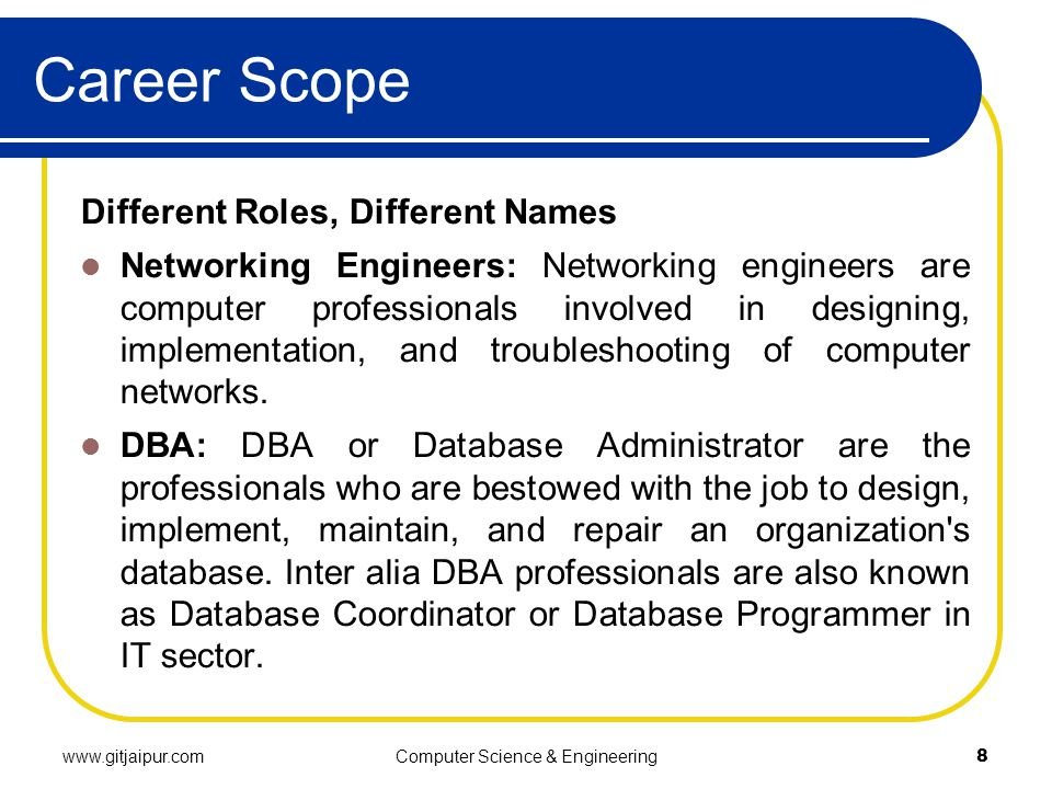 Career Scope Different Roles, Different Names Networking Engineers: Networking engineers are computer professionals involved in designing, implementation, and troubleshooting of computer networks.