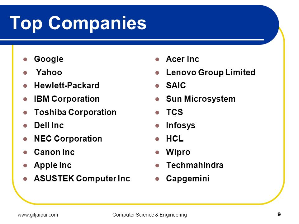 Top Companies Google Yahoo Hewlett-Packard IBM Corporation Toshiba Corporation Dell Inc NEC Corporation Canon Inc Apple Inc ASUSTEK Computer Inc Acer Inc Lenovo Group Limited SAIC Sun Microsystem TCS Infosys HCL Wipro Techmahindra Capgemini www.gitjaipur.comComputer Science & Engineering9