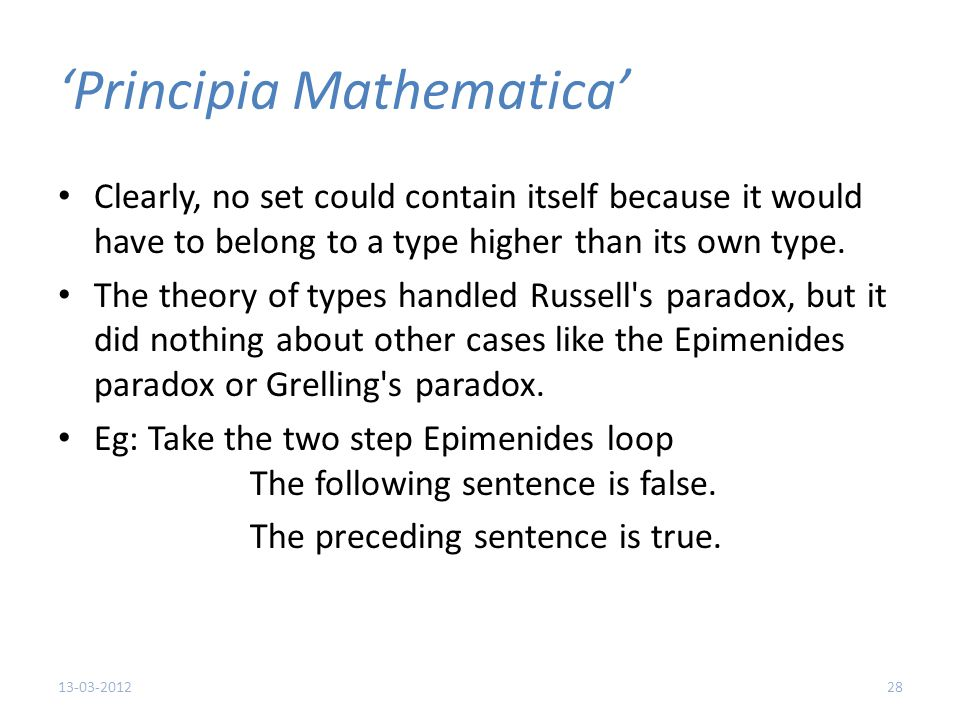 'Principia Mathematica' Clearly, no set could contain itself because it would have to belong to a type higher than its own type.