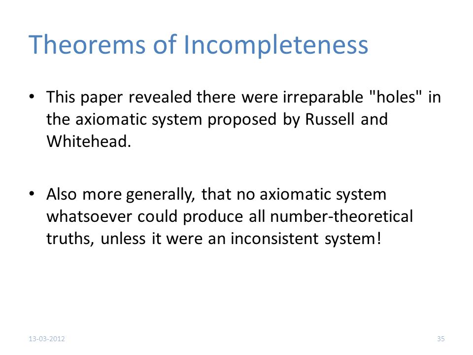Theorems of Incompleteness This paper revealed there were irreparable holes in the axiomatic system proposed by Russell and Whitehead.