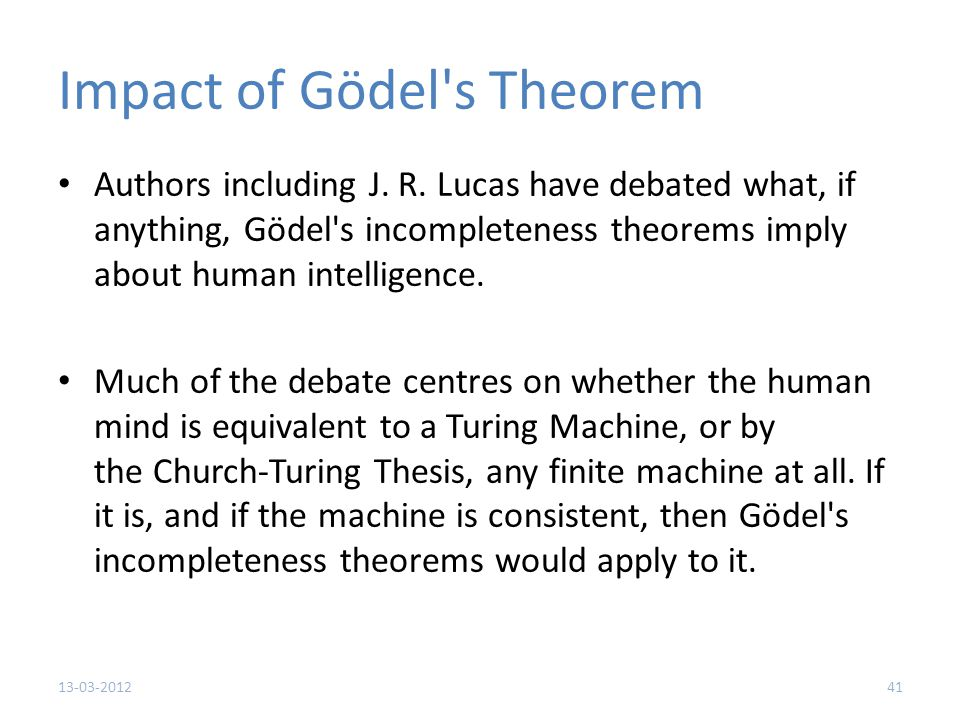 Impact of Gödel s Theorem Authors including J. R.