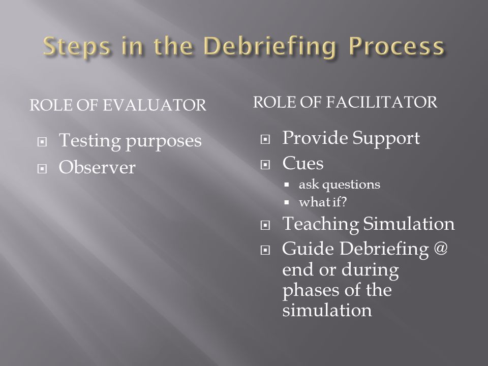 ROLE OF EVALUATOR  Testing purposes  Observer ROLE OF FACILITATOR  Provide Support  Cues  ask questions  what if.