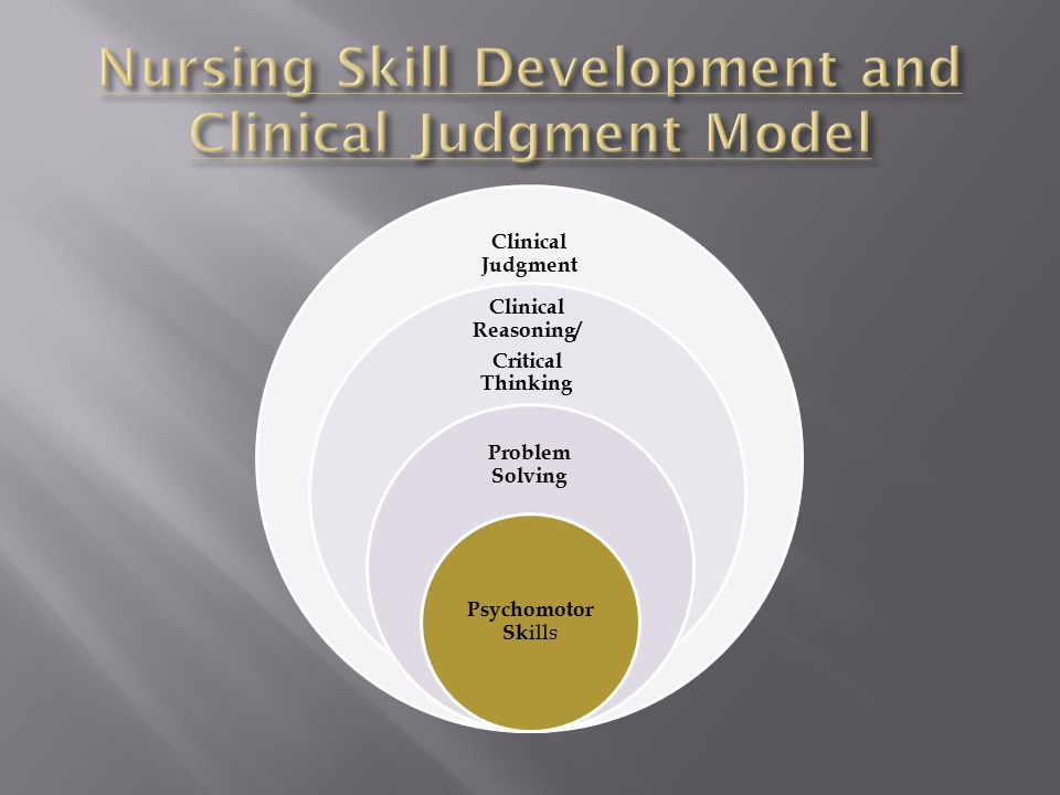 Clinical Judgment Clinical Reasoning/ Critical Thinking Problem Solving Psychomotor Sk ills